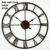 Handmade Clock On The Wall 40CM(16inch) Roman Wrought Iron Oversized 3D Vintage Rustic Decorative Luxury