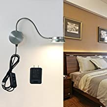 IreVoor LED Wall Lamp 6W Bedroom LED Headboard Wall Lamp Sconce Lamp Lighting White or Yellow Adjustable (Silver)