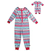 Dollie & Me Girls' Hearts and Faisisle Onesie Sleep Set