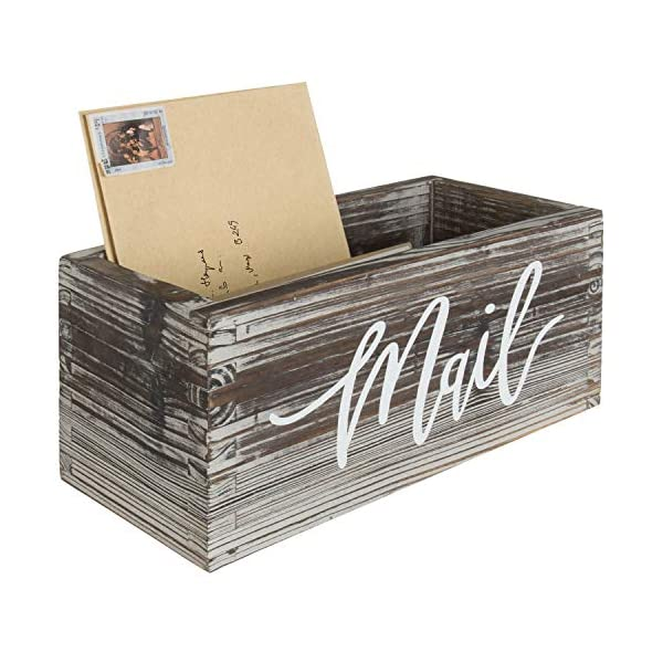 MyGift Rustic Wood Tabletop Decorative Mail Holder Box