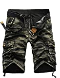 GUNLIRE Mens Army Green Camo Cargo Shorts Twill Multi Pockets Loose Fit Shorts for Men, 34, Army Green Camo