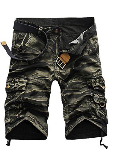 GUNLIRE Mens Army Green Camo Cargo Shorts Twill Multi Pockets Loose Fit Shorts for Men, 36, Army Green (Nice Match)