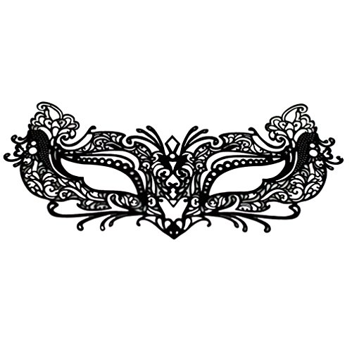 Costumes Tattoos (EMILYSTORES Self-Adhesive Flower For Woman Girl Garden Tattoo Black Lace Paper Lashes Upper and Lower Costume Party Halloween Black Venetian Pretty Masquerade Mask 1PC)