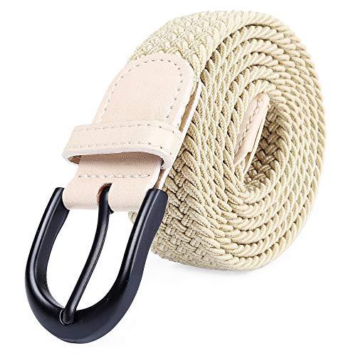 (Braided Stretch Elastic Belt Pin Oval Solid Black Buckle Leather Loop End Tip Men/Women/Junior (Khaki, XX-Large 44