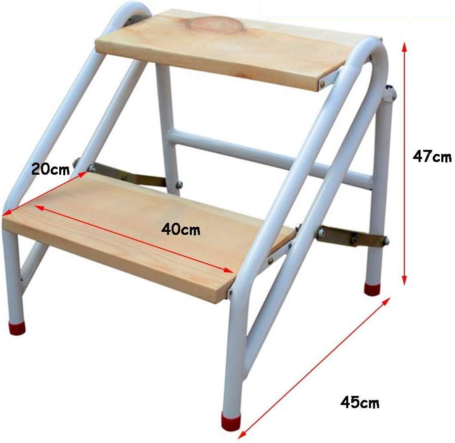 QQXX Escalera de peldaño portátil Plegable de 2 peldaños, Escalera de casa Escaleras de Madera para niños Adultos, Herramienta de jardín de Acero al Carbono de Servicio Pesado Máx. 150kg: Amazon.es: Hogar