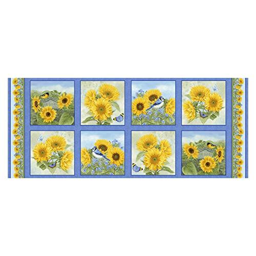 Henry Glass My Sunflower Garden 18'' Sunflower Block Panel Fabric, -