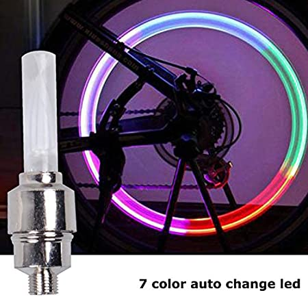 Bicycle Light Wheel Tyre Valve Cap Colorful LED Mountain Road Bicycle Spokes Lights Flashlight (Automatic Change 7 Colours)