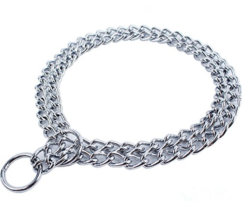 JWPC Dog Chain Collar Pet Iron Metal Double Chain Row Neck Leash Gear Choke Chain Walking Training for Small Medium Large Dogs,55cm