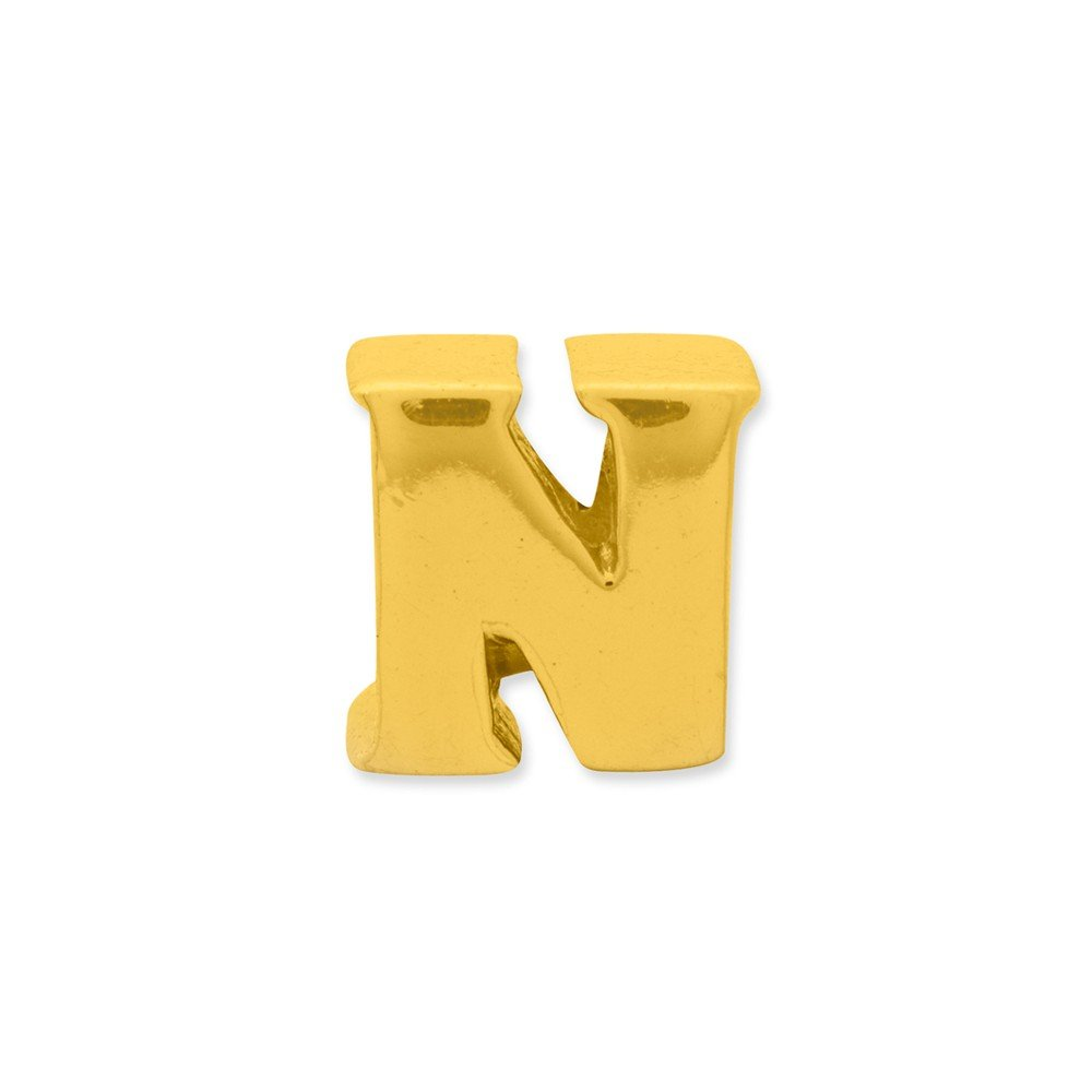 Black Bow Jewelry Letter N Bead Charm in 14k Yellow Gold Plated Sterling Silver