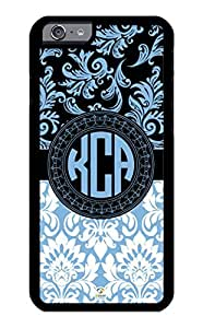 iPhone 6 PLUS Case Monogram Personalized Placid Blue Damask Pattern RUBBER CASE - Fits iPhone 6 PLUS T-Mobile, AT&T, Sprint, Verizon and International (Black)