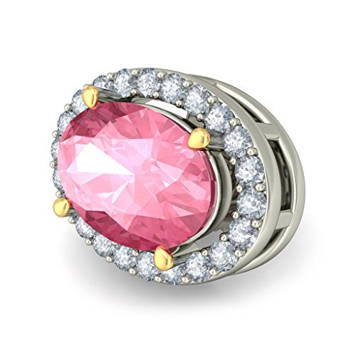 18 K Or Blanc 0,22 CT TW Round-cut-diamond (IJ | SI) et tourmaline rose Boucles d'oreille à tige