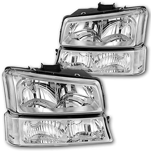 JSBOYAT Headlight Assembly Replacement for 2003-2006 Chevy Avalanche/ 03-07 Chevrolet Silverado 1500 2500 3500 Pickup Headlamp with Bumper Lights - Passenger and Driver Side (Chrome)