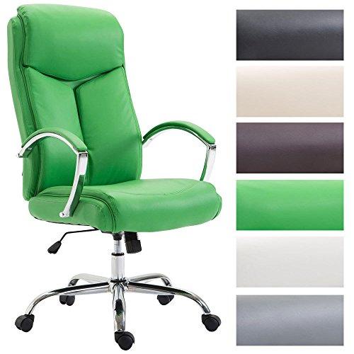 CLP Silla de Oficina XL Vaud en Cuero Sintetico I Silla de Escritorio con Reposabrazos I Silla de Ordenador Giratoria I Silla Ejecutiva Color: Verde