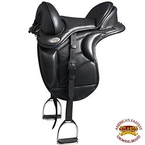 HILASON 17 English Treeless Horse Saddle Endurance Trail Pleasure Leather