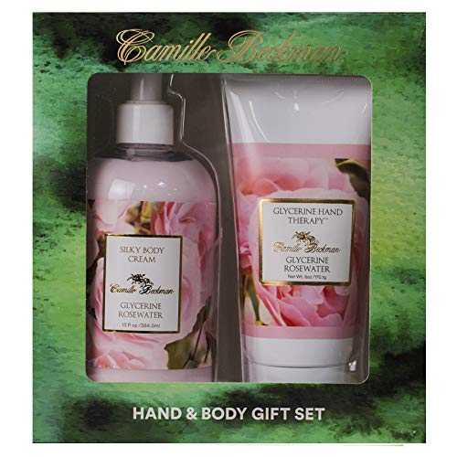 Camille Beckman Hand and Body Duet Set, Silky Body and Glycerine Hand Cream, Glycerine Rosewater -