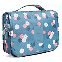 JULU Portable Travel Hanging Toiletry/ Cosmetic Bag (Tranquil Floral Blue)