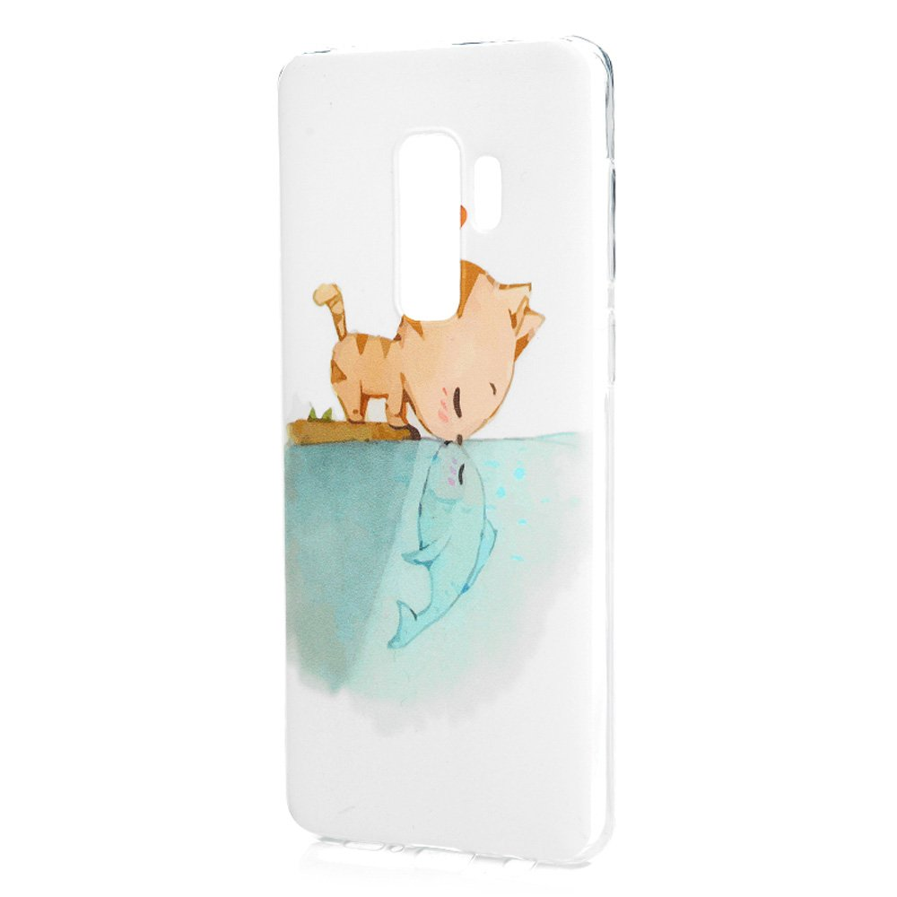 Galaxy S9 Plus Case, Printed Cat & Fish Love Cover Anti-Scratch Shockproof Bumper Ultra Slim Fit Soft TPU Rubber Protective Skin Shell Protector with Stylus Pen Dust Plug for Samsung Galaxy S9 Plus by YOKIRIN (Image #4)