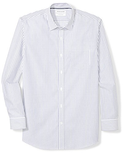 Amazon Essentials Mens Regular-Fit Wrinkle-Resistant Long-Sleeve Stripe Dress Shirt