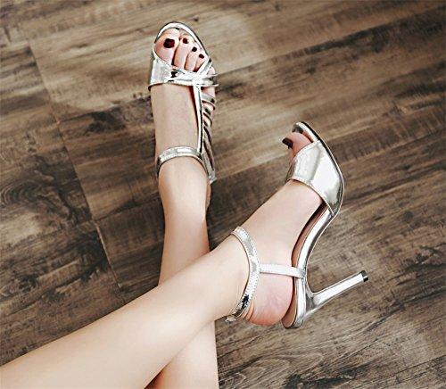 Nouveau Ouvert Creux De Toe or color Cm Hauts En Argent Sexy Taille Argent Soirée Talons Argent 10 39 Femmes Cuir Chaussures Verni 2018 Sandales 7wC8dq7