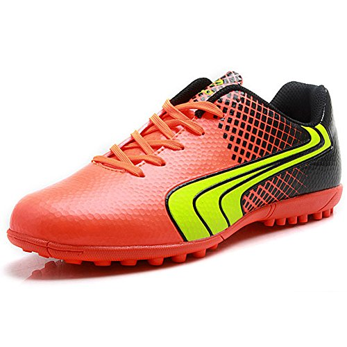(Tiebao Unisex Kids Adults Lace Up Rubber Cleats Football Shoes Boots for Hard Artificial Ground Indoor Orange S76520 Adults US11)