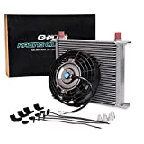 Universal 30 Row Engine Transmission 10An Oil Cooler + 7'' Electric Fan Kit Black