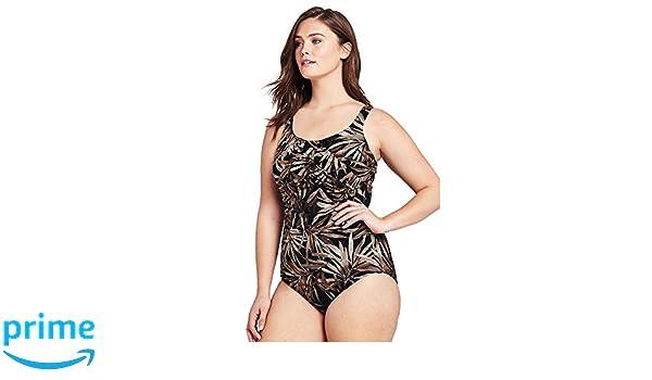 c716c7bc574 Lands' End Women's Plus Size Long Torso Slender Carmela One Piece Swimsuit,  24W, Black Dramatic Palm at Amazon Women's Clothing store: