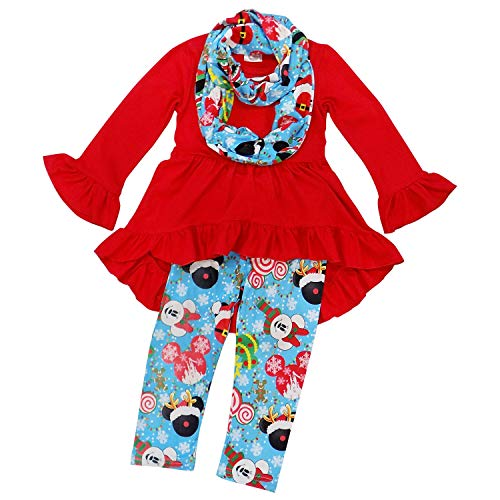 So Sydney Girls Toddler Pink or Red Minnie Mouse Kids Boutique Dress or Outfit (XS (2T), Mouse Christmas Scarf Set)