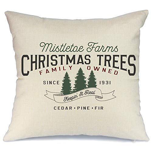 AENEY Christmas Pillow Cover 18x18 for Couch Christmas Tree Throw Pillow Farmhouse Decorations Home Decor Xmas Decorative Pillowcase Faux Linen Cushion Case Sofa Red