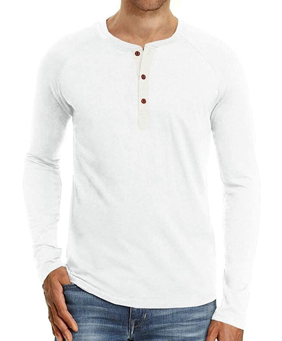 Wofupowga Mens Pullover Buttons Vogue Stretch Raglan Sleeve Henley Top Tee T-Shirts