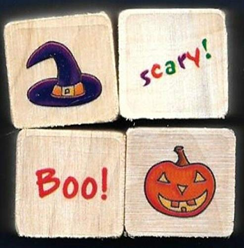 Rubber Stamp Frames Witch HAT Scary! Boo Pumpkin Word Mini LOT Halloween Gift tag Wood Rubber Stamps -