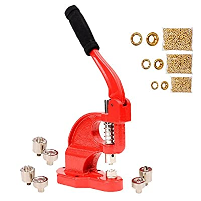 Tenive Heavy Duty Eyelet Maker Grommet Machine Hand Press Hole Punch Tool with 3 Dies (#0 #2 #4) and 900 Grommets