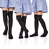 HERHILLY 3 Pack School Uniform Socks - Classic Stripe Cotton Over Knee-high Socks for Big Girls 3-12 Year old (9-12 Year Old, 3 Pack Black)