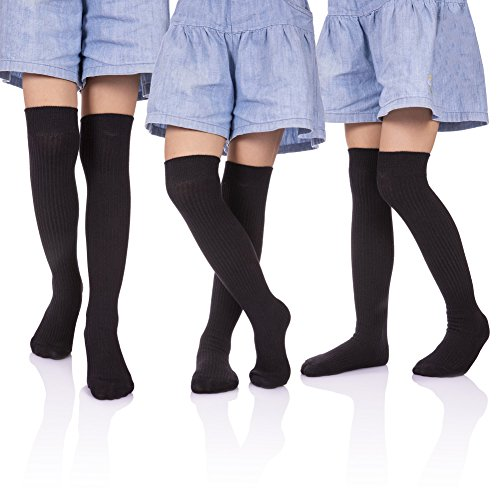 (HERHILLY 3 Pack School Uniform Socks - Classic Stripe Cotton Over Knee-high Socks for Big Girls 3-12 Year old (3-5 Year Old, 3 Pack Black))