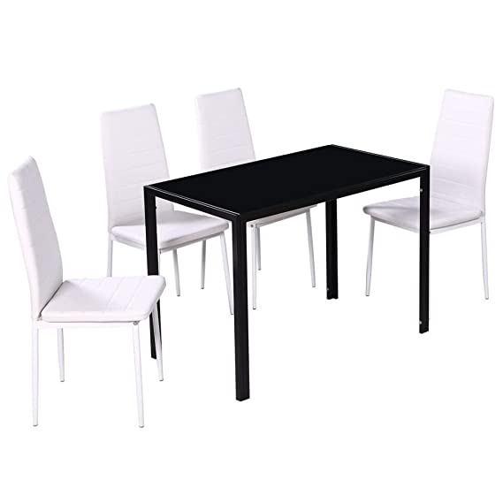 vidaXL Conjunto de Comedor 5 Piezas Blanco y Negro Mesa Sillas Muebles Cocina: Amazon.es: Jardín