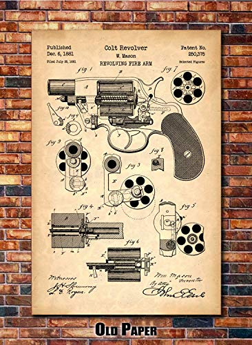 (Colt Revolver Patent Print Art 1881 (multiples sizes and colors available))