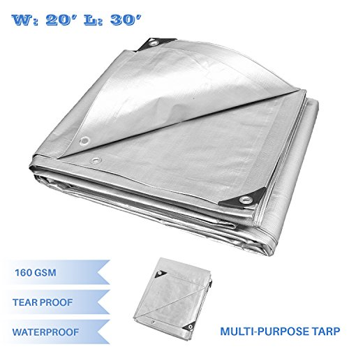 E&K Sunrise 10-mil Poly Tarp 20' x 30' Finished Size General Multi-Purpose Tarpaulin Waterproof, Great for Tarpaulin Canopy Tent, Boat, RV or Pool Cover- Silver by E&K Sunrise