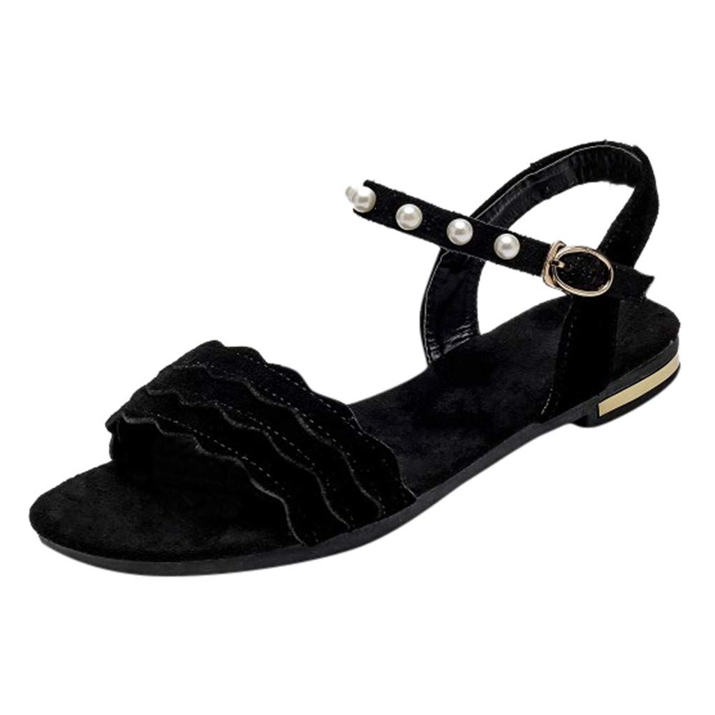 Clearance! Swiusd Women's Pearl Flat Sandals Comfy Wave Brim Slingback Open Toe Beach Party Sandals Pearl Chain Dress Shoes (Black, 5.5 M US) by Clearance! Swiusd