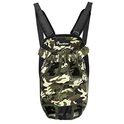 PAWABOO Pet Carrier Backpack, Adjustable Pet Front Cat Dog Carrier Backpack Travel Bag, Legs Out, Easy-Fit for Traveling Hiking Camping, Large Size, Deep Camouflage Black
