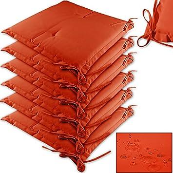 Lot De 6 Coussins Orange Pour Chaises Fauteuil