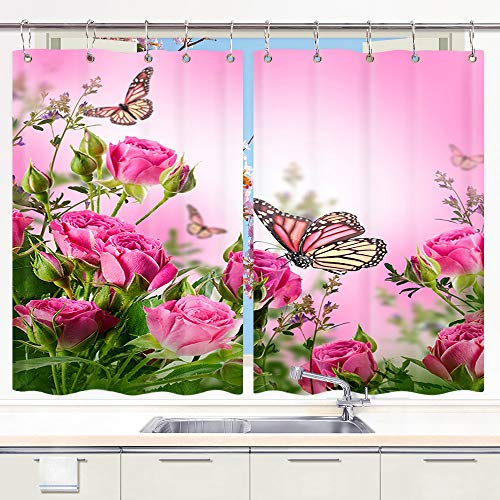 DYNH Pink Flowers Kitchen Curtain, Butterflies and Spa Home of Spring Theme Zen Floral House Window Curtain Panels, Waterproof Kitchen Curtains Drapes 10PCS Hooks 55X39 in Valance