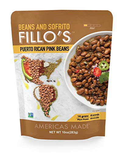 FILLO'S Puerto Rican Pink Beans, Ready to Eat Sofrito Beans, 6 Count, 10 Ounces Each, Seasoned with Fresh Vegetables, Microwavable, Non-GMO, Vegan, Plant Protein