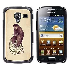 TECHCASE**Cubierta de la caja de protección la piel dura para el ** Samsung Galaxy Ace 2 I8160 Ace II X S7560M ** Bear Wheel Art Drawing Watercolor Pencil Hat