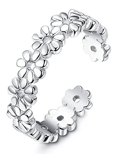 FUNRUN JEWELRY Sterling Silver Toe Rings for Women Girls Foot Jewelry Hawaiian Beach Flower Ring Adjustable