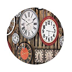 iPrint Polyester Round Tablecloth,Clock Decor,Antique Clocks on the Wall Instruments of Time Vintage Decorative Pattern,Brown and Red,Dining Room Kitchen Picnic Table Cloth Cover,for Outdoor Indoor