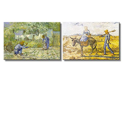 Morning: Peasant Couple Going to Work First Steps (after Millet) by Vincent Van Gogh Oil Painting Reproduction in Set of 2 x 2 Panels