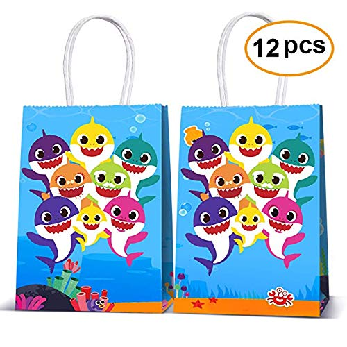 Shark Party Bags Reusable Drawstring Bags 12Pcs, Kids Birthday Party Supplies Give Aways, Gift Treat Pouch, Party Favours Candy Goodie Bags for Children Girls Boys Toddlers (Paper Bags)