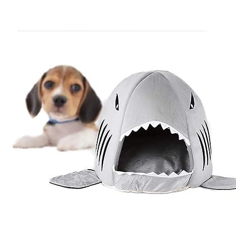 Lilalit kuschelige Cama Forma de Tiburón, Gato Cesta de Gatos de Cama edredón de Cueva