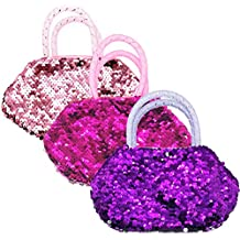 Elesa Miracle 3pc Kids Little Girl Sequins Handbag Value Set Toddler Girl Pretend Play Little Girl Dress up Princess Toy Handbag Purse Set