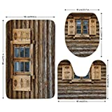 3 Piece Bathroom Mat Set,Shutters,Windows with Shutters Patterned on the Wall of the Old Wooden House Cottage Print,Brown Beige,Bath Mat,Bathroom Carpet Rug,Non-Slip