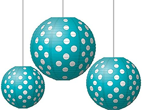 Teacher Created Resources Teal Polka Dots Round Paper Lanterns 77103